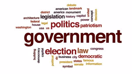 president of united states : Government computing animated word cloud, text design animation. Stock Footage