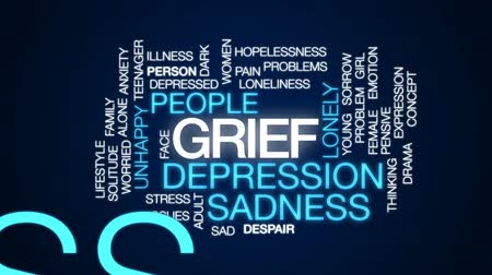 preocupar se : Grief animated word cloud, text design animation.