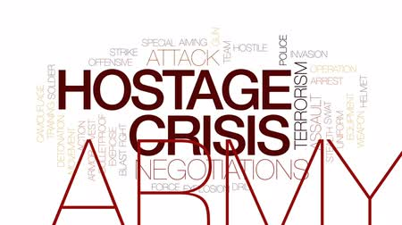 stealth : Hostage crisis animated word cloud, text design animation. Kinetic typography. Stock Footage
