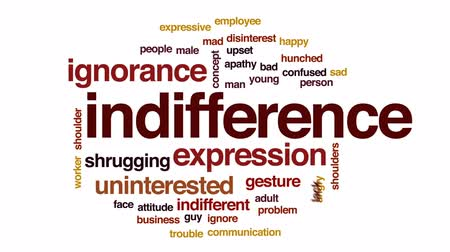 disinterest : Indifference animated word cloud, text design animation.
