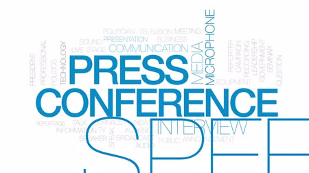 press conference : Press conference animated word cloud, text design animation. Kinetic typography.