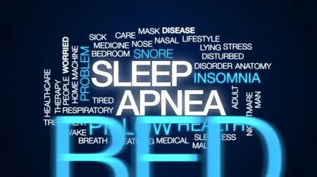 preocupar se : Sleep apnea animated word cloud, text design animation.