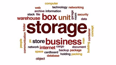 archívum : Storage animated word cloud, text design animation. Stock mozgókép