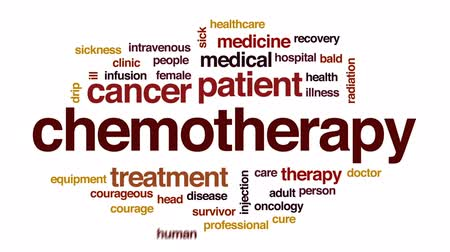 infusion : Chemotherapy animated word cloud, text design animation.