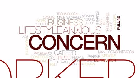 koncentracja : Concern animated word cloud, text design animation. Kinetic typography.