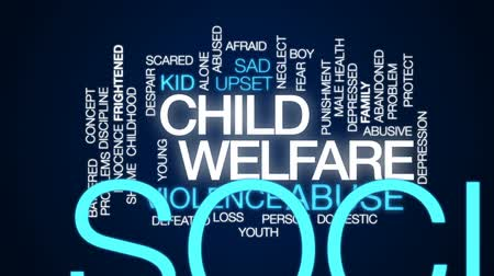 abuso : Child welfare animated word cloud, text design animation.
