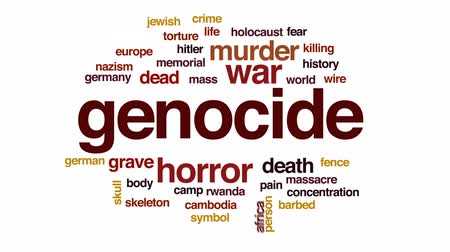 genocide : Genocide animated word cloud, text design animation. Stock Footage