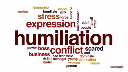 abuso : Humiliation animated word cloud, text design animation. Stock Footage