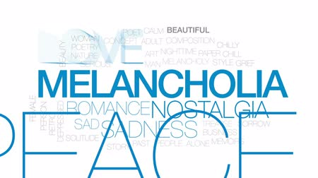 denominado retro : Melancholia animated word cloud, text design animation. Kinetic typography.