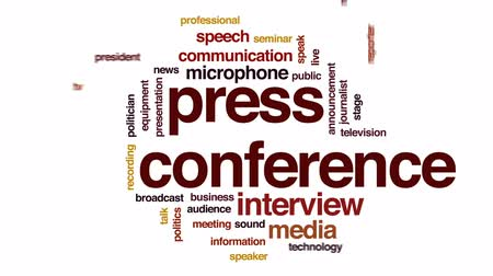 mikrofon : Press conference animated word cloud, text design animation. Wideo