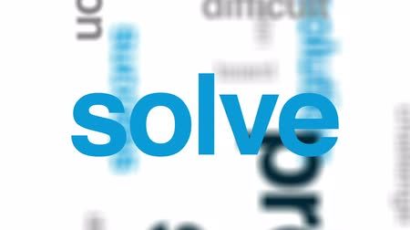 resolver : Problem solving animated word cloud, text design animation.