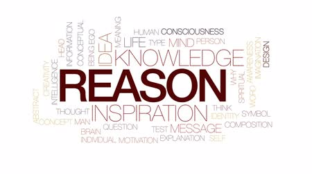 consciousness : Reason animated word cloud, text design animation. Kinetic typography. Stock Footage
