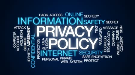 senha : Privacy policy animated word cloud, text design animation. Vídeos
