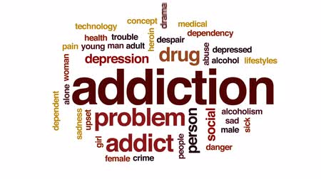 sosyal konular : Addiction animated word cloud, text design animation. Stok Video