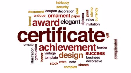 intricacy : Certificate animated word cloud, text design animation.