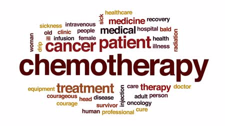 oncology : Chemotherapy animated word cloud, text design animation.