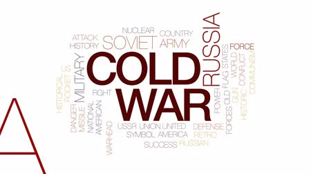 cold war : Cold war animated word cloud, text design animation. Kinetic typography. Stock Footage
