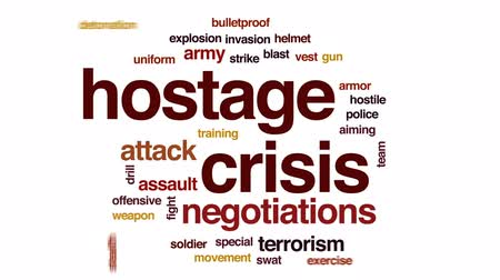 bulletproof : Hostage crisis animated word cloud, text design animation.