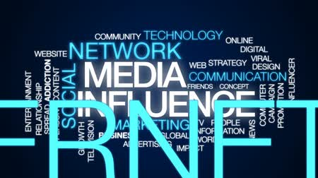 кампания : Media influence animated word cloud, text design animation. Стоковые видеозаписи
