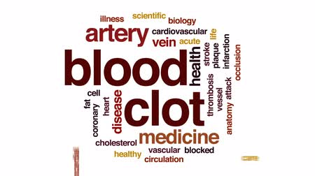 damar : Blood clot animated word cloud, text design animation. Stok Video