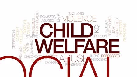 fegyelem : Child welfare animated word cloud, text design animation. Kinetic typography.