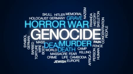 farpado : Genocide animated word cloud, text design animation. Stock Footage
