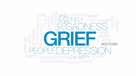 preocupar se : Grief animated word cloud, text design animation. Kinetic typography.