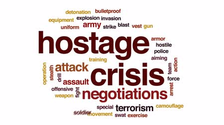 terrorismo : Hostage crisis animated word cloud, text design animation.