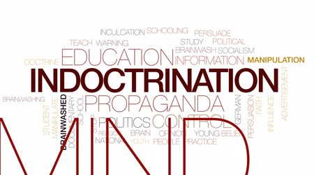 manipulacja : Indoctrination animated word cloud, text design animation. Kinetic typography.