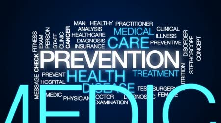 ludzik : Prevention animated word cloud, text design animation. Wideo