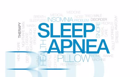 respiração : Sleep apnea animated word cloud, text design animation. Kinetic typography.