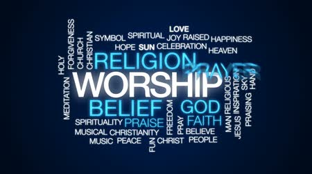 övgü : Worship animated word cloud, text design animation.
