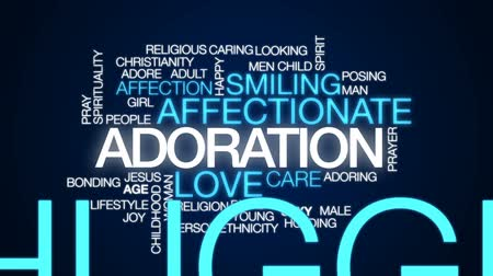 idade média : Adoration animated word cloud, text design animation.
