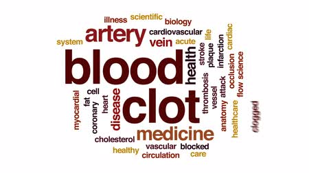 clogged : Blood clot animated word cloud, text design animation. Stock Footage