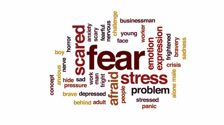 preocupar se : Fear animated word cloud, text design animation.
