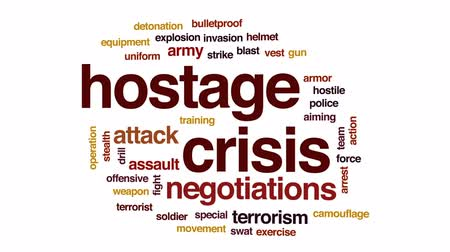 stealth : Hostage crisis animated word cloud, text design animation.