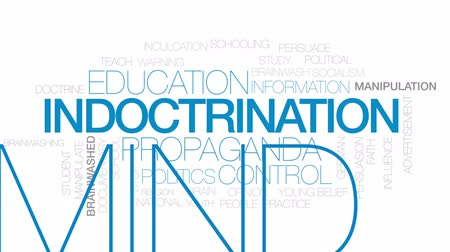 persuasion : Indoctrination animated word cloud, text design animation. Kinetic typography.