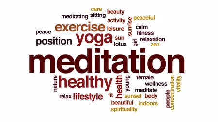 pozisyon : Meditation animated word cloud, text design animation. Stok Video