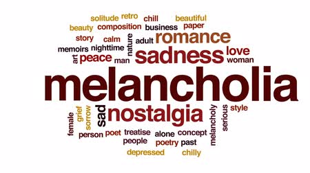меланхолия : Melancholia animated word cloud, text design animation.