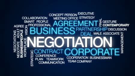 végső : Negotiation animated word cloud, text design animation. Stock mozgókép