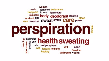 antiperspirant : Perspiration animated word cloud, text design animation.