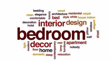 ágynemű : Bedroom animated word cloud, text design animation.