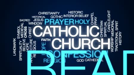papa : Catholic church animated word cloud, text design animation. Stok Video