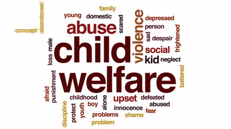 fegyelem : Child welfare animated word cloud, text design animation.
