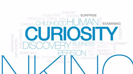 pré escolar : Curiosity animated word cloud, text design animation. Kinetic typography.