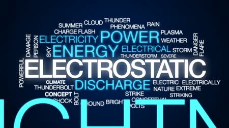powerful : Electrostatic animated word cloud, text design animation.