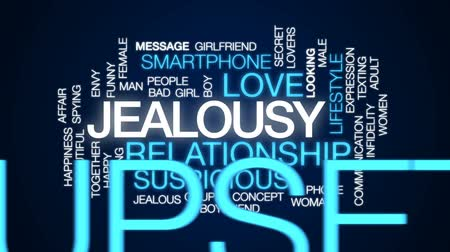 spying : Jealousy animated word cloud, text design animation. Stock Footage
