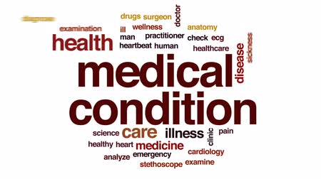 vészhelyzet : Medical condition animated word cloud, text design animation. Stock mozgókép