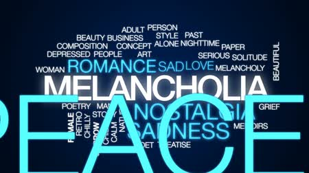 poeta : Melancholia animated word cloud, text design animation.