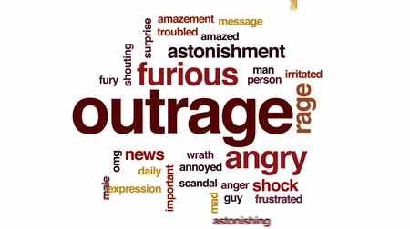 сплетни : Outrage animated word cloud, text design animation.